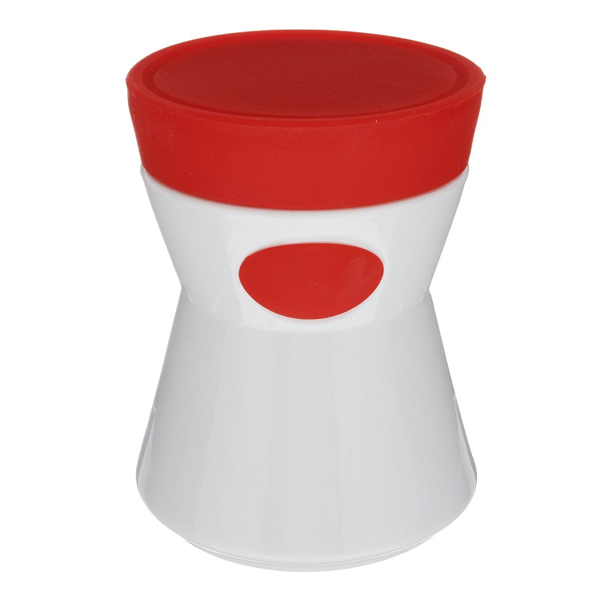 Банка для сыпучих продуктов House & Holder, цвет: красный, 0,76 л7D508Банка для сыпучих продуктов House & Holder изготовлена из прочной керамики и оснащена плотно закрывающейся силиконовой крышкой. Благодаря этому, внутри сохраняется герметичность, и продукты дольше остаются свежими. Изделие предназначено для хранения различных сыпучих продуктов: круп, чая, сахара, орехов, специй и другого. Функциональная и вместительная, такая банка станет незаменимым аксессуаром на любой кухне.