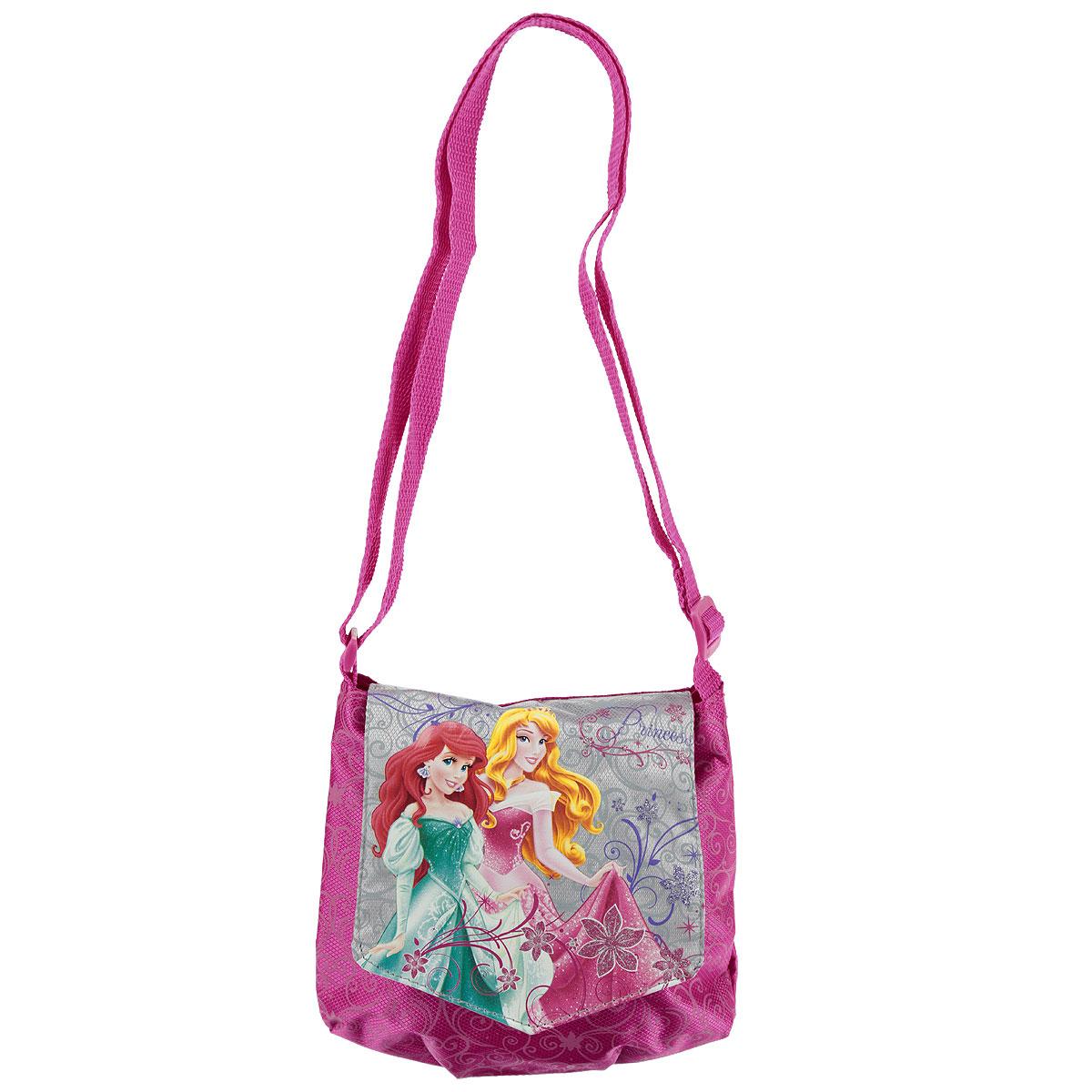 Сумочка детская Princess, цвет: розовый. PRAA-UT1-57012PRAA-UT1-57012Стильная детская сумочка Princess порадует любую модницу и поклонницу мультфильма. Сумочка имеет одно отделение, закрывающееся на перекидной клапан на липучке с изображением принцесс. Лицевая сторона сумочки оформлена притнтолм-узором. Сумочка оснащена регулируемым по длине ремнем для переноски, благодаря чему подойдет детям любого роста. Каждая юная поклонница популярной серии игрушек, будет рада такому аксессуару. Предназначено для детей 7-10 лет.