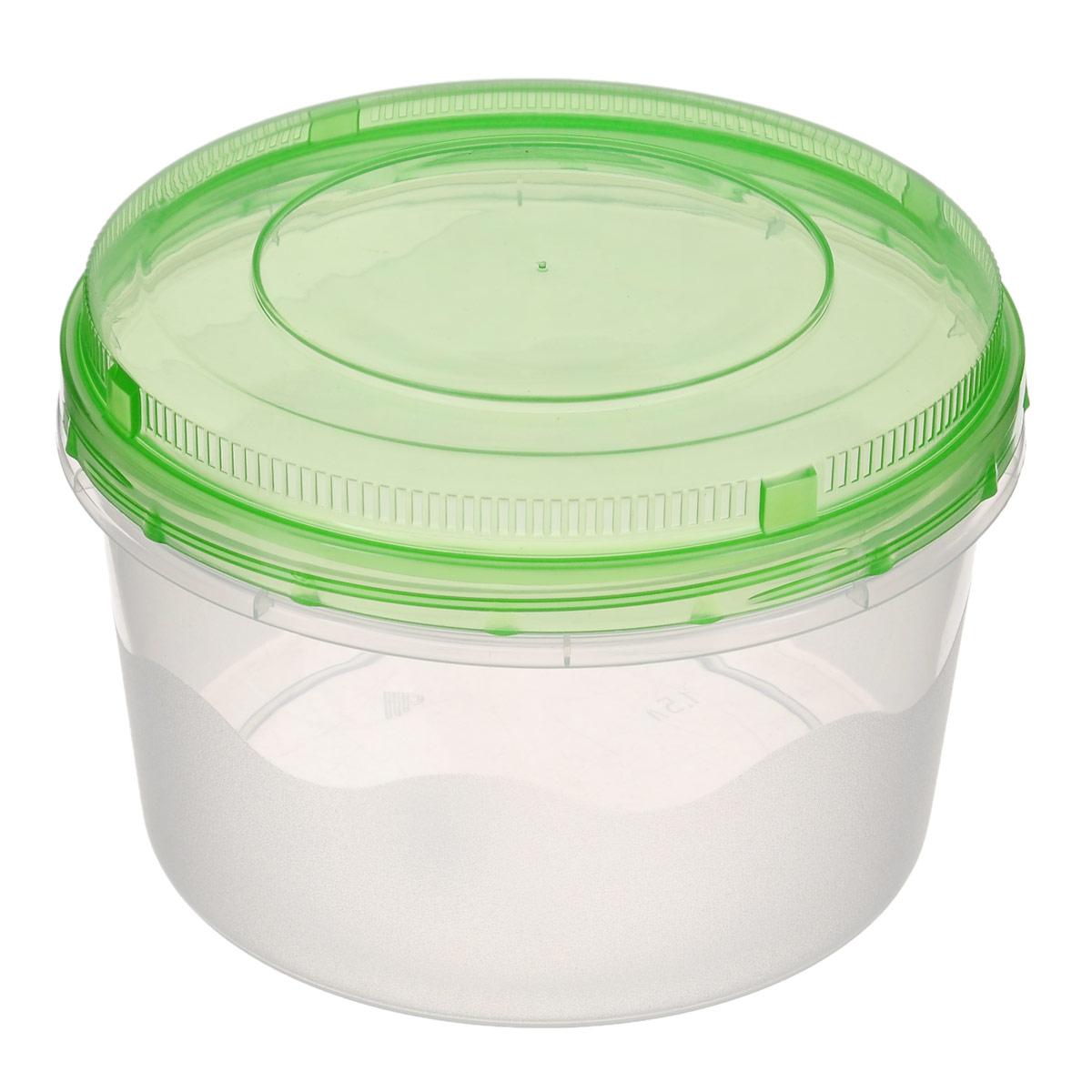 Контейнер Альтернатива, цвет: зеленый, 1,5 лМ1166_зеленыйКруглый контейнер для СВЧ Альтернатива выполнен из высококачественного пластика, абсолютно безопасного для использования с пищевыми продуктами. Контейнер имеет закручивающуюся крышку, обеспечивающую абсолютную герметичность и водонепроницаемость, не пропускает влагу и запахи, долго сохраняет свежесть продуктов. Диаметр: 15,5 см. Высота (без учета крышки): 9,5 см.
