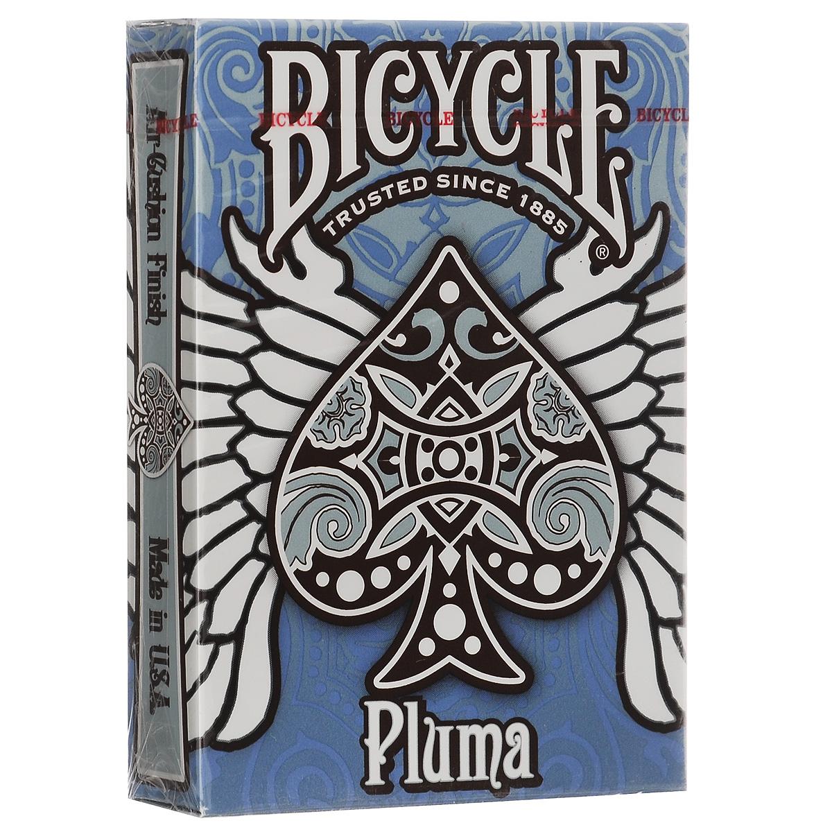 Игральные карты Bicycle Pluma, цвет: синийК-320Колода Pluma - колода племенных и животных мотивов, обновленная версия исторической группы колод Bicycle. Синяя и коричневая гамма ассоциируется с небом и землей. Pluma - настоящее произведение искусства.