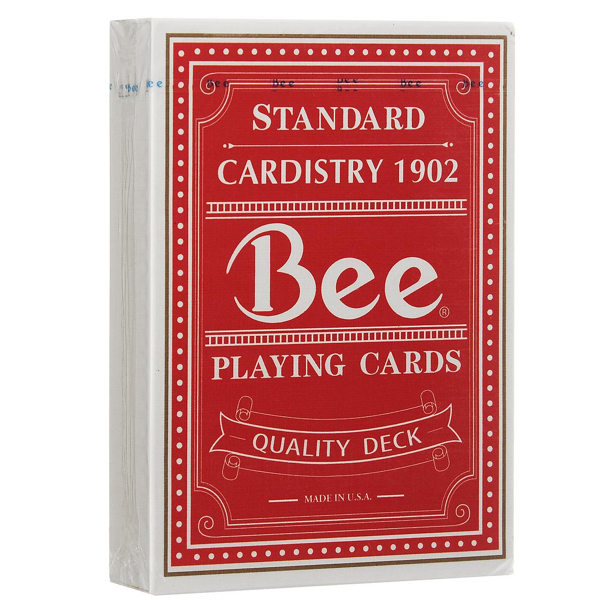 Игральные карты Bee Quality, цвет: красный, белыйК-342Игральные карты Bee Quality изготовлены на заводе USPCC и имеют улучшенное качество, по сравнению с обычными колодами Bee.