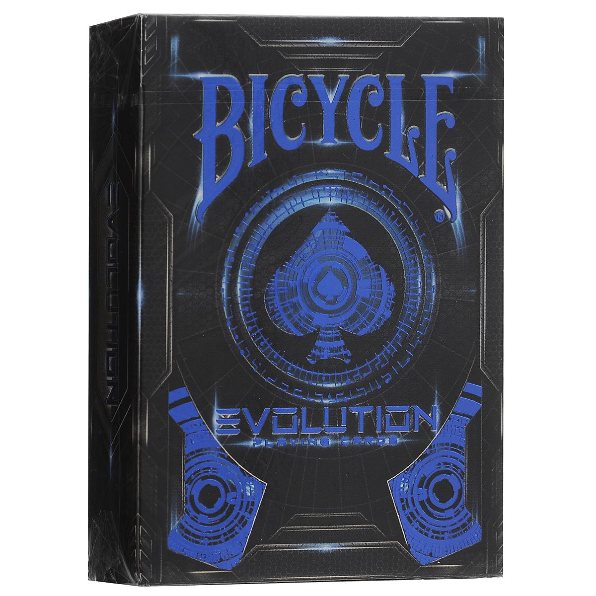 Игральные карты Bicycle Evolutio, цвет: черный, синийК-3402050 год. Планета Земля. United States Playing Card Company по прежнему лидер по производству карт во всей нашей галактике. Именно так, по мнению разработчиков, должна выглядеть колода в будущем.