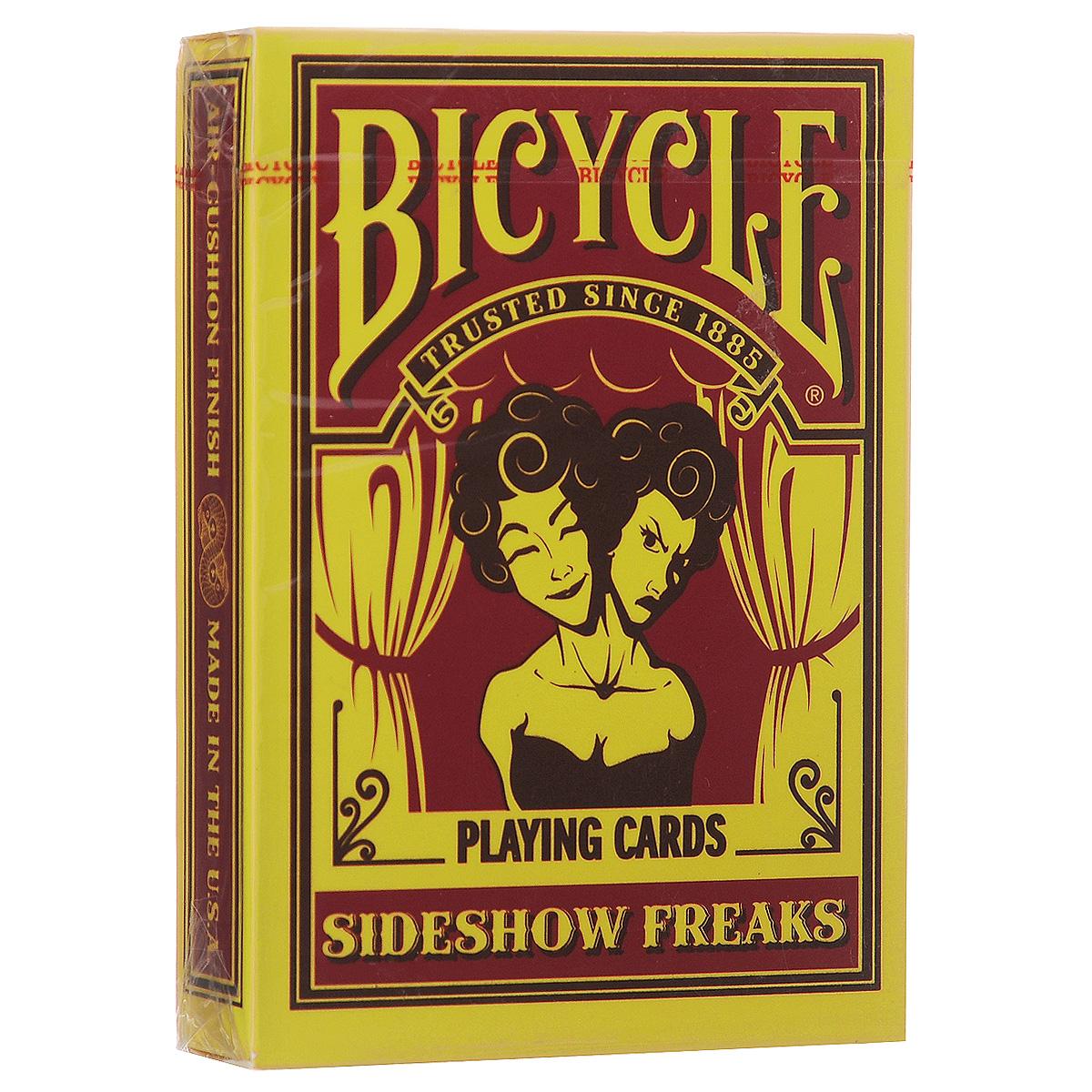 Игральные карты Bicycle Sideshow Freaks, цвет: желтыйК-449Рады представить Вашему вниманию игральные карты Bicycle Sideshow Freaks. Сайдшоу - условное название нескольких видов развлечений и зрелищ, устраивавшихся бродячими цирками на импровизированных уличных цирковых представлениях, карнавалах, балаганах и ярмарках.