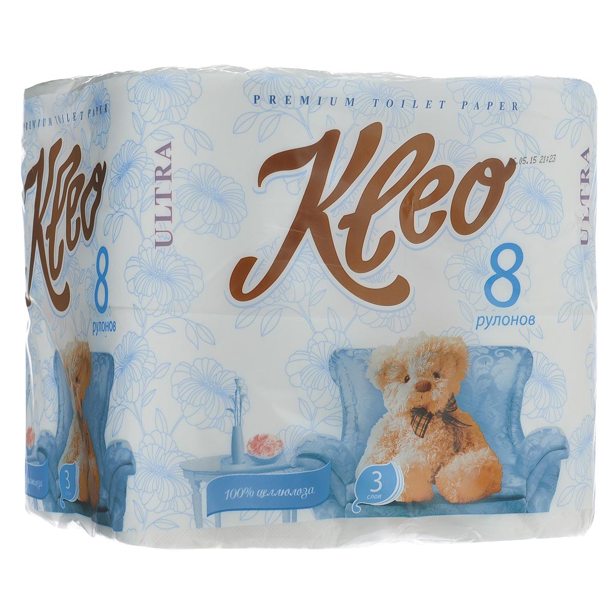 Туалетная бумага Мягкий знак Kleo Ultra, трехслойная, цвет: белый, 8 рулоновC130Трехслойная туалетная бумага Мягкий знак Kleo Ultra, выполненная из натуральной целлюлозы с тиснением в виде бабочек, обеспечивает превосходный комфорт и ощущение чистоты и свежести. Она отличается необыкновенной мягкостью и прочностью. Бумага хорошо перфорирована, не расслаивается и отрывается строго по просечке. Состав: 100% целлюлоза. Размер листа: 12,5 см х 9,6 см. Количество листов: 168 шт.