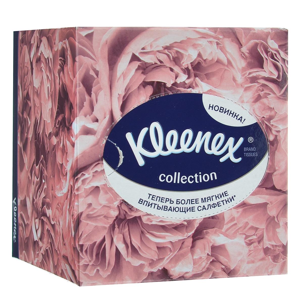 """Салфетки универсальные Kleenex """"Collection"""", двухслойные, 21,6 см х 21,6 см, 100 шт (упаковка светло-коричневые цветы) 9480500_св."""