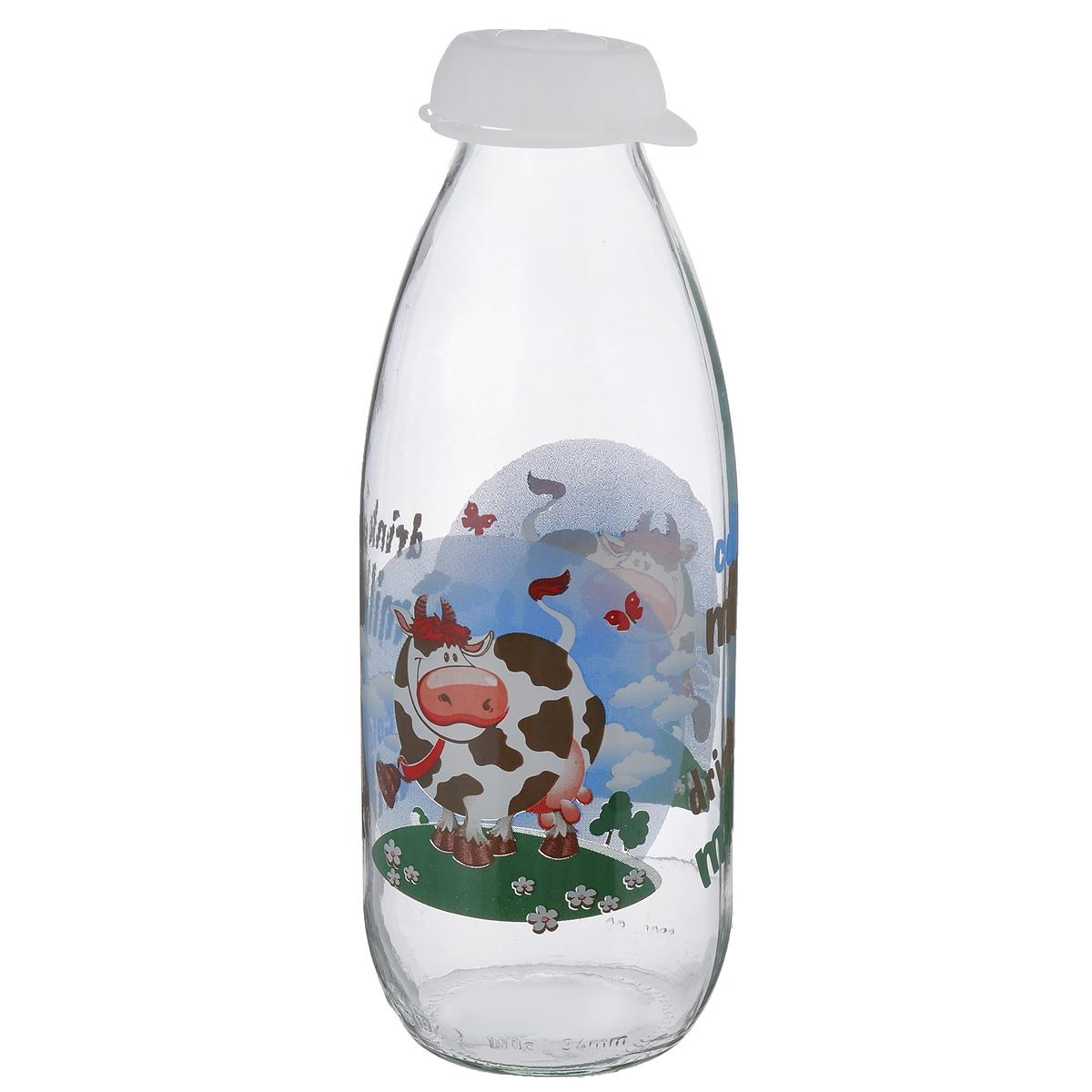 Бутылка для молока Herevin, цвет: прозрачный, белый, 1 л. 111708-000111708-000Бутылка Herevin, выполненная из стекла, позволит украсить любую кухню, внеся разнообразие, как в строгий классический стиль, так и в современный кухонный интерьер. Она легка в использовании и оснащена пластиковой откидной крышкой. Благодаря этому внутри сохраняется герметичность, и молоко дольше остается свежим. Стенки бутылки украшены изображением забавной коровы. Оригинальная бутылка для молока будет отлично смотреться на вашей кухне. Диаметр (по верхнему краю): 4 см. Диаметр основания: 7 см. Высота: 23 см.