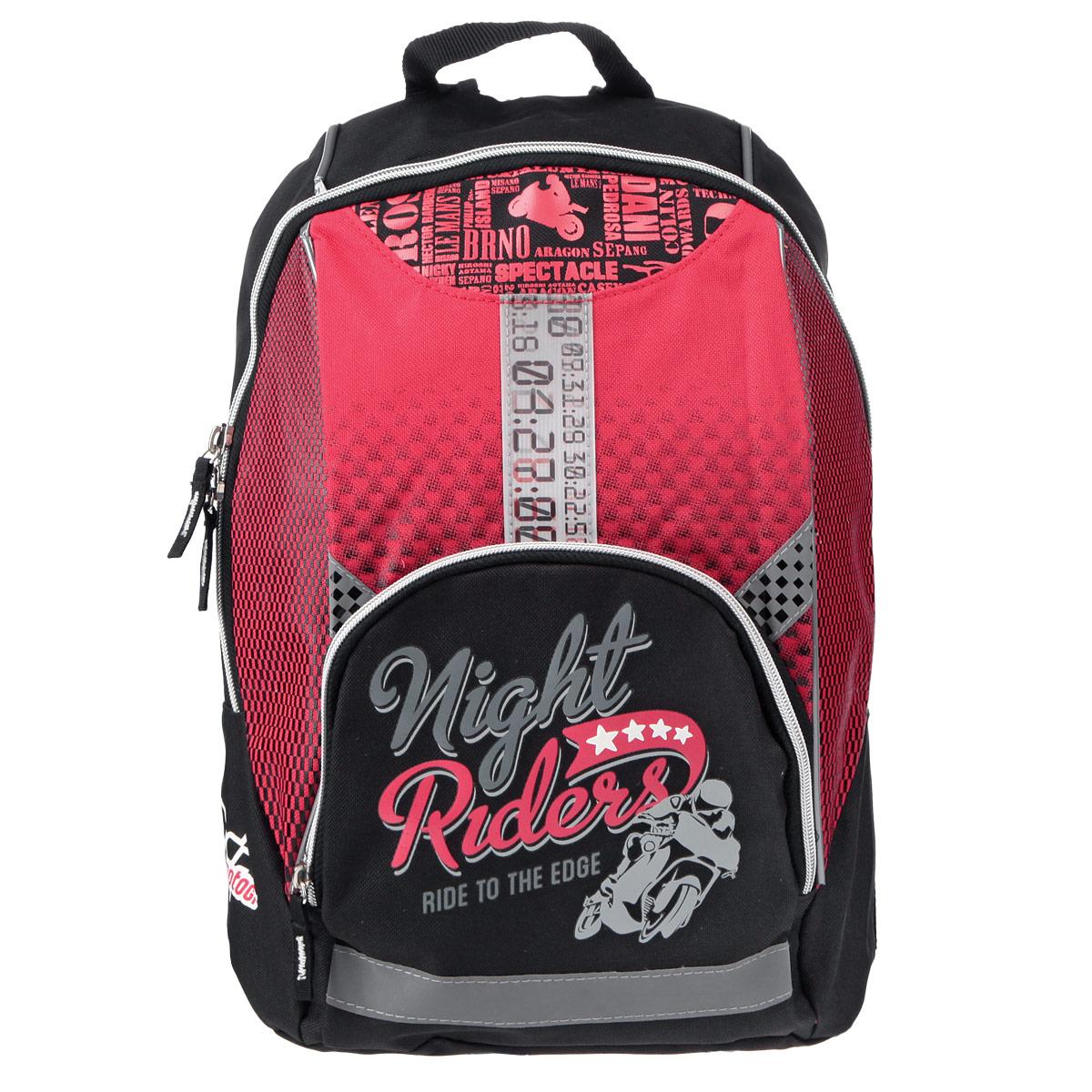 Рюкзак детский Motor GP, цвет: красный, черныйMGBB-UT1-7068Детский рюкзак Motor GP - это стильный вместительный рюкзак, который придется по вкусу любому ребенку. Рюкзак выполнен из плотного износостойкого материала черного цвета с красными вставками. Состоит из одного отделения, закрывающегося на застежку-молнию. Внутри рюкзака находится просторный накладной карман на липучке. На фронтальной части рюкзака предусмотрен карман на молнии для мелочей. Корпус и дно рюкзака мягкие, спинка выполнена из поролона. Лямки специальной S-образной формы с поролоном и воздухообменным сетчатым материалом, регулируемые по длине. В рюкзаке Motor GP ваш ребенок с удовольствием будет носить свои вещи или любимые игрушки.