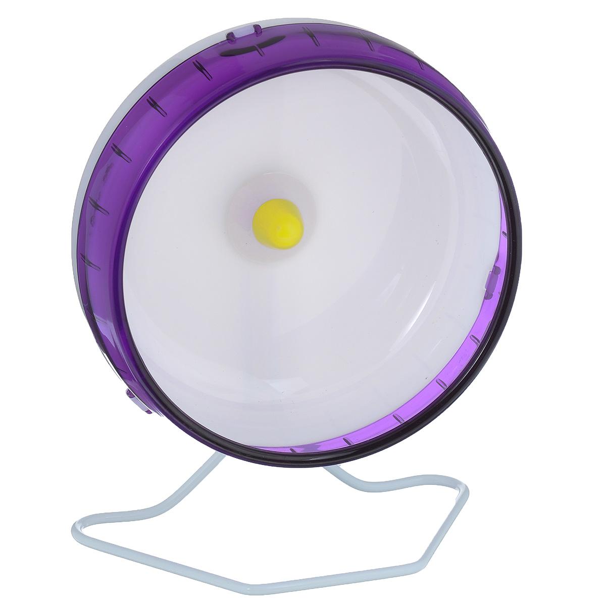 Колесо для грызунов I.P.T.S., цвет: белый, фиолетовый, диаметр 16,5 см285152Колесо для грызунов I.P.T.S., изготовленное из прочного пластика, абсолютно бесшумное. Для грызунов очень важно постоянно разминать свои лапки и поддерживать физической форму. Именно поэтому одним из самых востребованных дополнительных аксессуаров для них являются различные приспособления для бега. Тренировки на колесе станут питомцу в радость и не позволят набрать лишний вес. Предназначено для сирийских и карликовых хомяков, а также мышей. Диаметр колеса: 16,5 см.