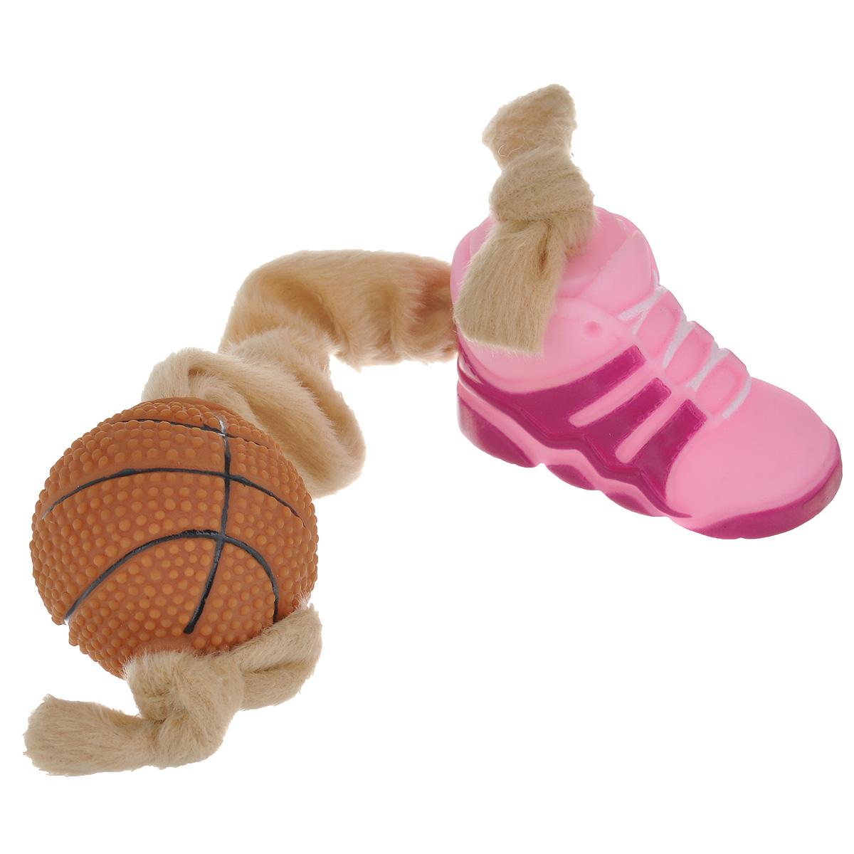 Игрушка для собак I.P.T.S. Ботинок и мяч, цвет: розовый, бежевый16269Игрушка I.P.T.S. Ботинок и мяч, изготовленная из текстиля и резины, выполнена в виде мяча с одной стороны и ботинка с другой. Эластичная веревка позволяет собаке активно играть. Такая игрушка не навредит здоровью вашего питомца и увлечет его на долгое время. Общая длина игрушки: 24-32 см. Диаметр мяча: 5 см. Размер ботинка: 7,5 см х 4 см х 5,5 см.