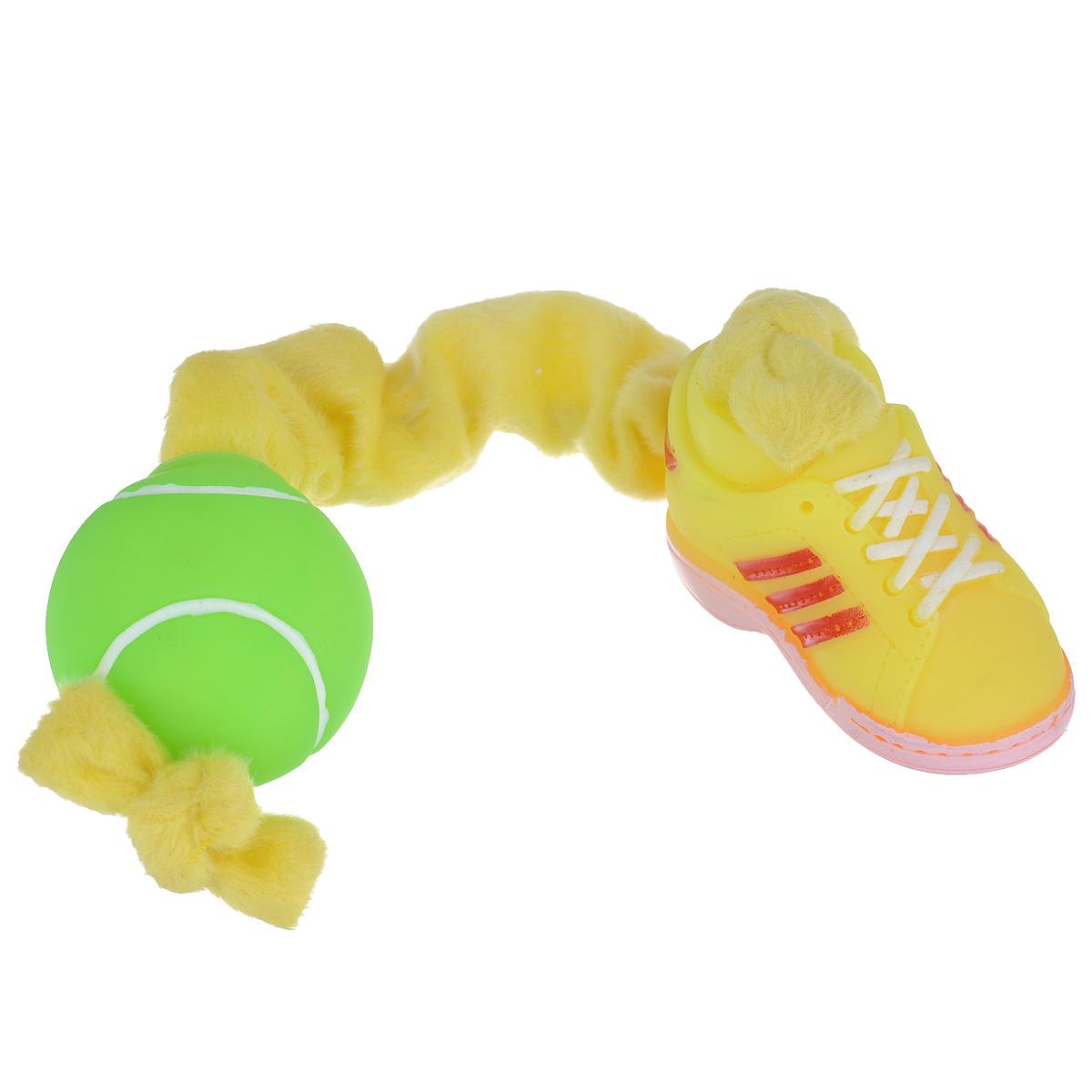 Игрушка для собак I.P.T.S. Ботинок и мяч, цвет: желтый, салатовый16269/620166Игрушка I.P.T.S. Ботинок и мяч, изготовленная из текстиля и резины, выполнена в виде мяча с одной стороны и ботинка с другой. Эластичная веревка позволяет собаке активно играть. Такая игрушка не навредит здоровью вашего питомца и увлечет его на долгое время. Общая длина игрушки: 24-32 см. Диаметр мяча: 5 см. Размер ботинка: 7,5 см х 4 см х 5,5 см.