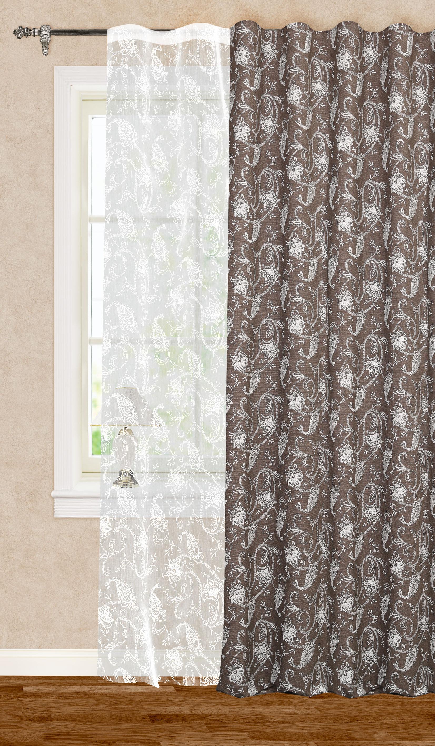 Штора готовая для гостиной Garden, на ленте, цвет: белый, коричневый, размер 200*260 см. С11001-W2001V11С11001-W2001V11Роскошная портьерная штора Garden выполнена из репса (100% полиэстера) и декорирована цветочным принтом. Материал плотный и мягкий на ощупь. Оригинальная текстура ткани и классическая цветовая гамма привлекут к себе внимание и органично впишутся в интерьер помещения. Эта штора будет долгое время радовать вас и вашу семью! Штора крепится на карниз при помощи ленты, которая поможет красиво и равномерно задрапировать верх. Стирка при температуре 30°С.