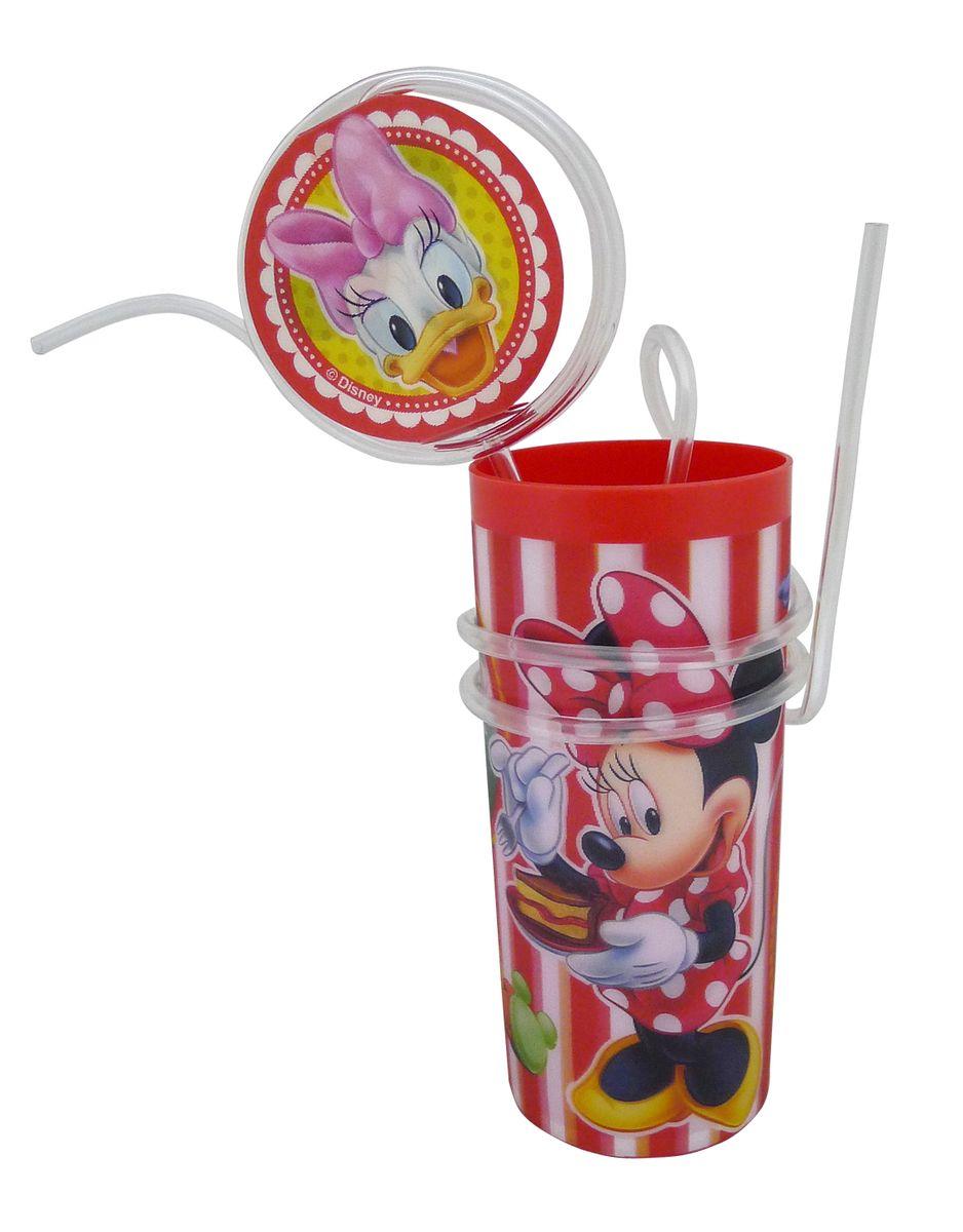 Стакан пластиковый Disney Минни, с витой соломинкой и трубочкой, цвет: красный, 330 млRSL680M1Яркий пластиковый стакан Disney Минни выполнен из безопасного пищевого пластика и оформлен изображениями героев мультфильма Клуб Микки Мауса - Минни Маус и Дейзи Дак. Рисунок находится под слоем прозрачного структурного пластика (линзы), создающего эффект объемного изображения, как в 3D кино, и исключает попадание краски в жидкость. В комплект входят соломинка и трубочка, выполненные из полупрозрачного пластика. Соломинка необычно изогнута, при питье можно наблюдать, как жидкость бежит по ней и оформлена вставкой с меняющимися изображениями. Трубочка обвита вокруг стакана. Стакан без трубочки можно использовать как подставку под карандаши или зубные щетки. Порадуйте вашего ребенка таким замечательным подарком. Объем стакана: 330 мл. Диаметр стакана (по верхнему краю): 6 см. Высота стакана: 13,5 см.