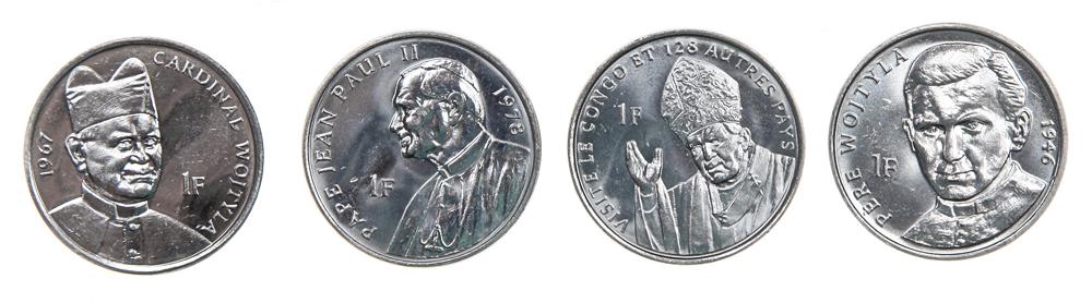 Набор из 4 монет Иоанн Павел II. Демократическая Республика Конго, 2004 год401306Набор из 4 монет Иоанн Павел II. Демократическая Республика Конго, 2004 год. В комплект вошли 4 монеты номиналом 1 франк. Диаметр монет: 2,5 см. Сохранность очень хорошая.