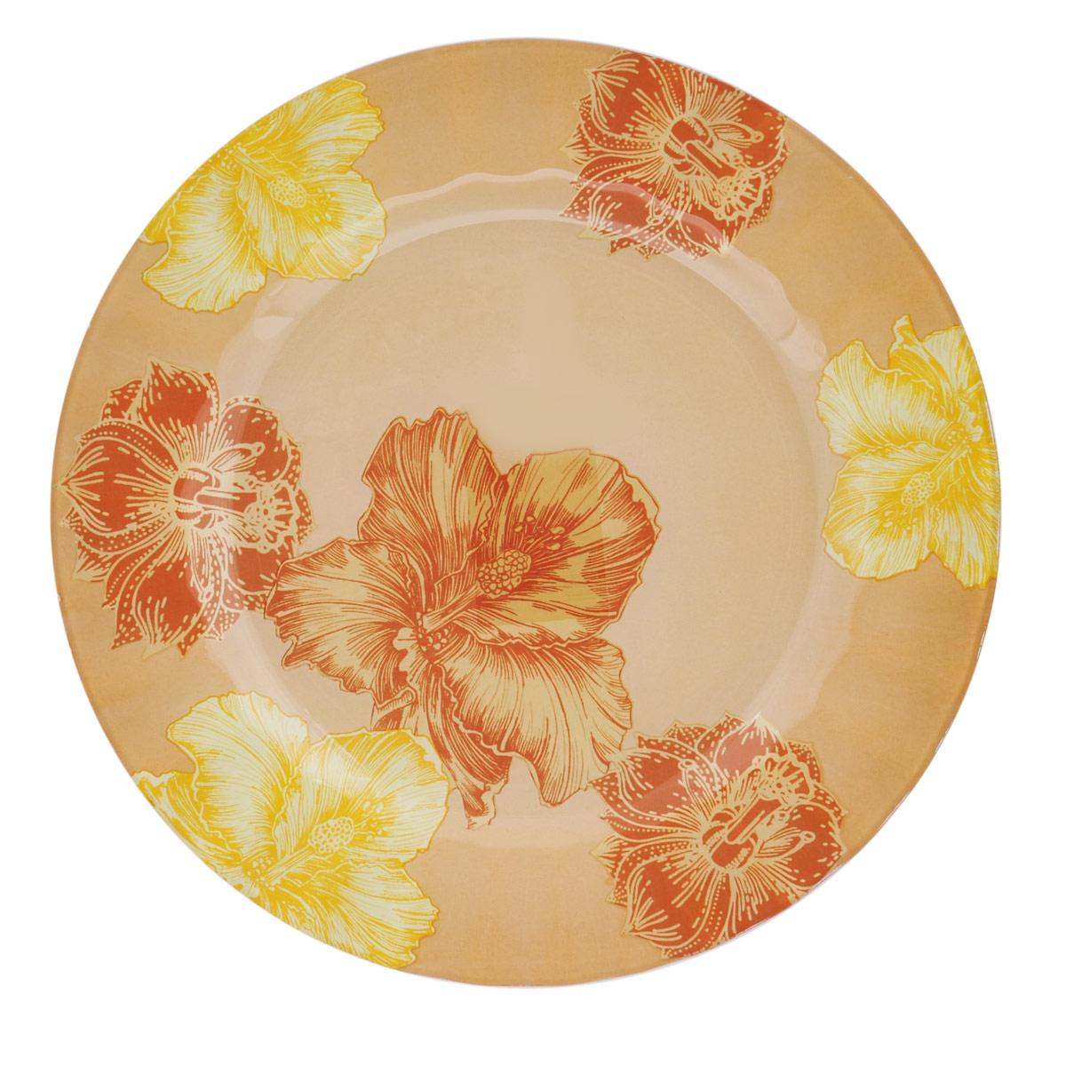 Тарелка House & Holder Цветы, диаметр 25 см. S3010EG008S3010EG008Круглая тарелка House & Holder Цветы, изготовленная из стекла, декорирована ярким изображением. Такая тарелка украсит сервировку вашего стола и подчеркнет прекрасный вкус хозяина, а также станет отличным подарком. Диаметр: 25 см. Высота: 1,9 см.