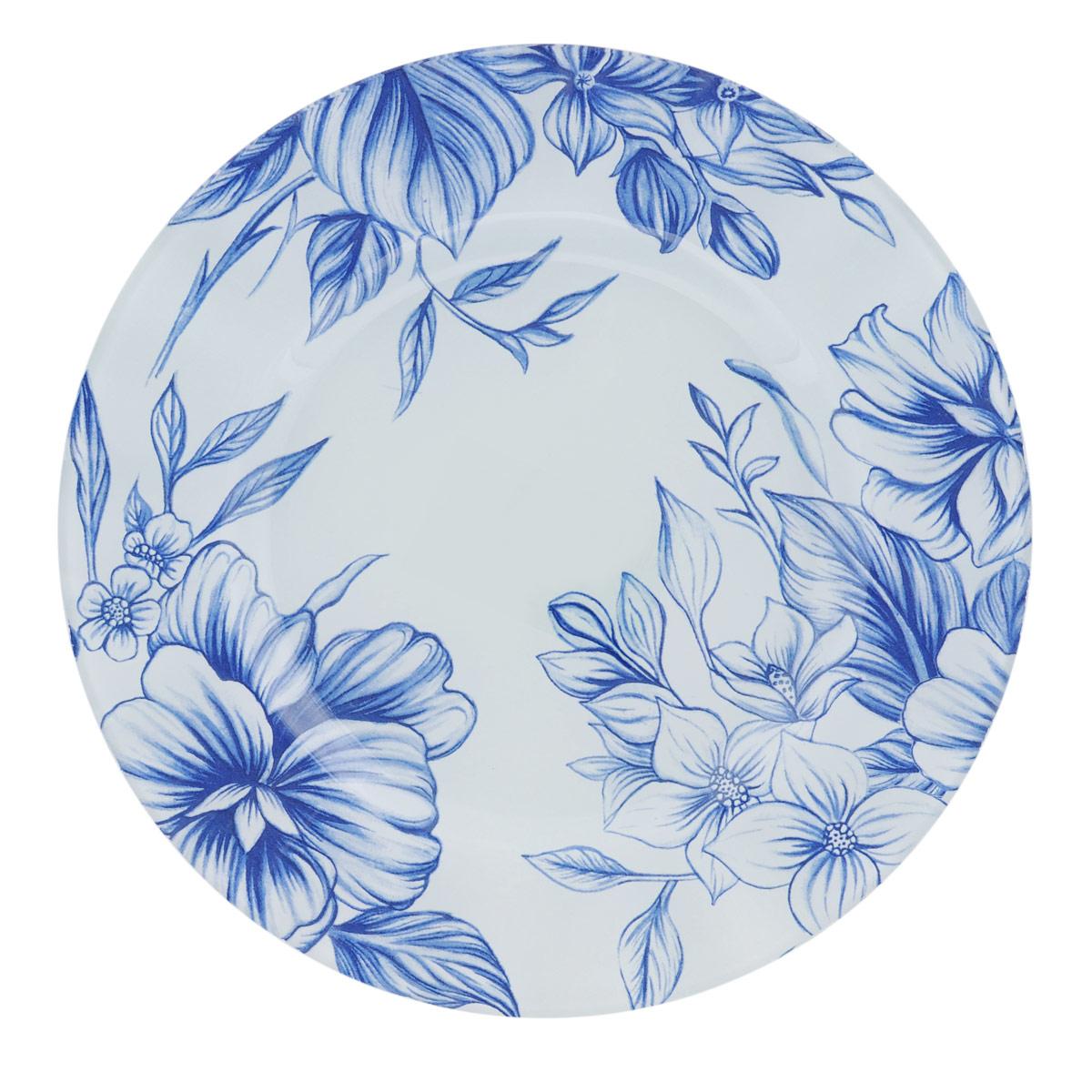 Тарелка House & Holder Синие цветы, диаметр 23 см. S3009EF114S3009EF114Круглая тарелка House & Holder Синие цветы, изготовленная из стекла, декорирована ярким изображением. Такая тарелка украсит сервировку вашего стола и подчеркнет прекрасный вкус хозяина, а также станет отличным подарком. Диаметр: 23 см. Высота: 1,9 см.