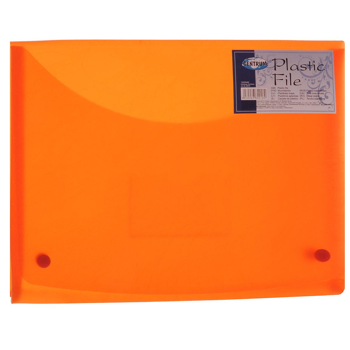 Папка-конверт Centrum Soft Touch, на 2 кнопках, цвет: оранжевый, формат А484016Папка-конверт на кнопках Soft Touch - это удобный и функциональный офисный инструмент, предназначенный для хранения и транспортировки рабочих бумаг и документов формата А4. Папка с двойной угловой фиксацией изготовлена из износостойкого полупрозрачного пластика. Внутри, под клапаном расположен небольшой кармашек для заметок. Папка оформлена оригинальным тиснением. Папка - это незаменимый атрибут для студента, школьника, офисного работника. Такая папка надежно сохранит ваши документы и сбережет их от повреждений, пыли и влаги.
