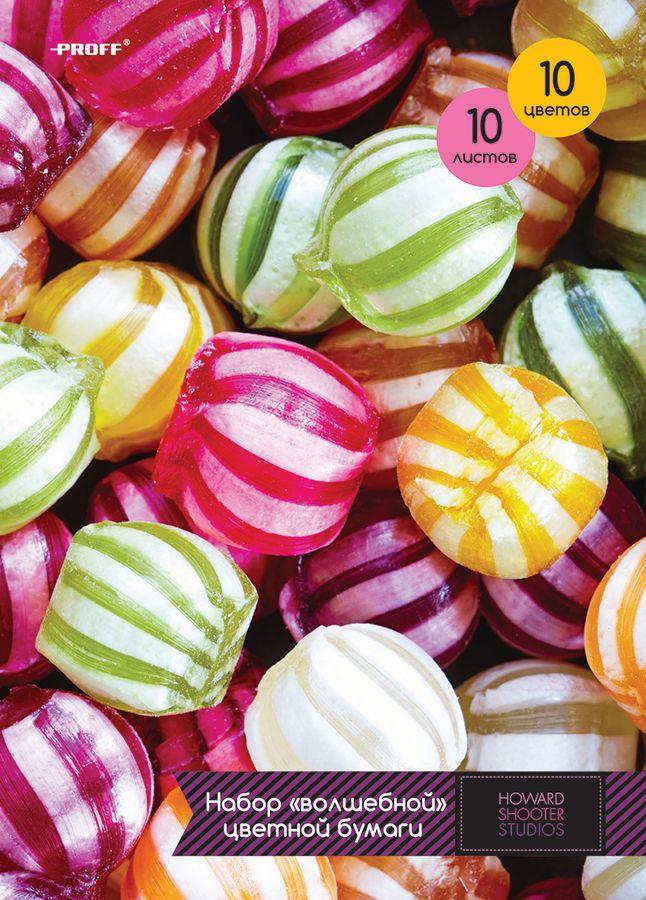 Набор цветной бумаги Proff Сладости, формат A4, 10 цветовHS15-CPS10Набор цветной бумаги Proff Сладости содержит 10 листов бумаги различных насыщенных цветов. Создание поделок из цветной бумаги - это увлекательнейший процесс, способствующий развитию фантазии и творческого мышления. Набор упакован в картонную папку с цветным изображением сладостей.