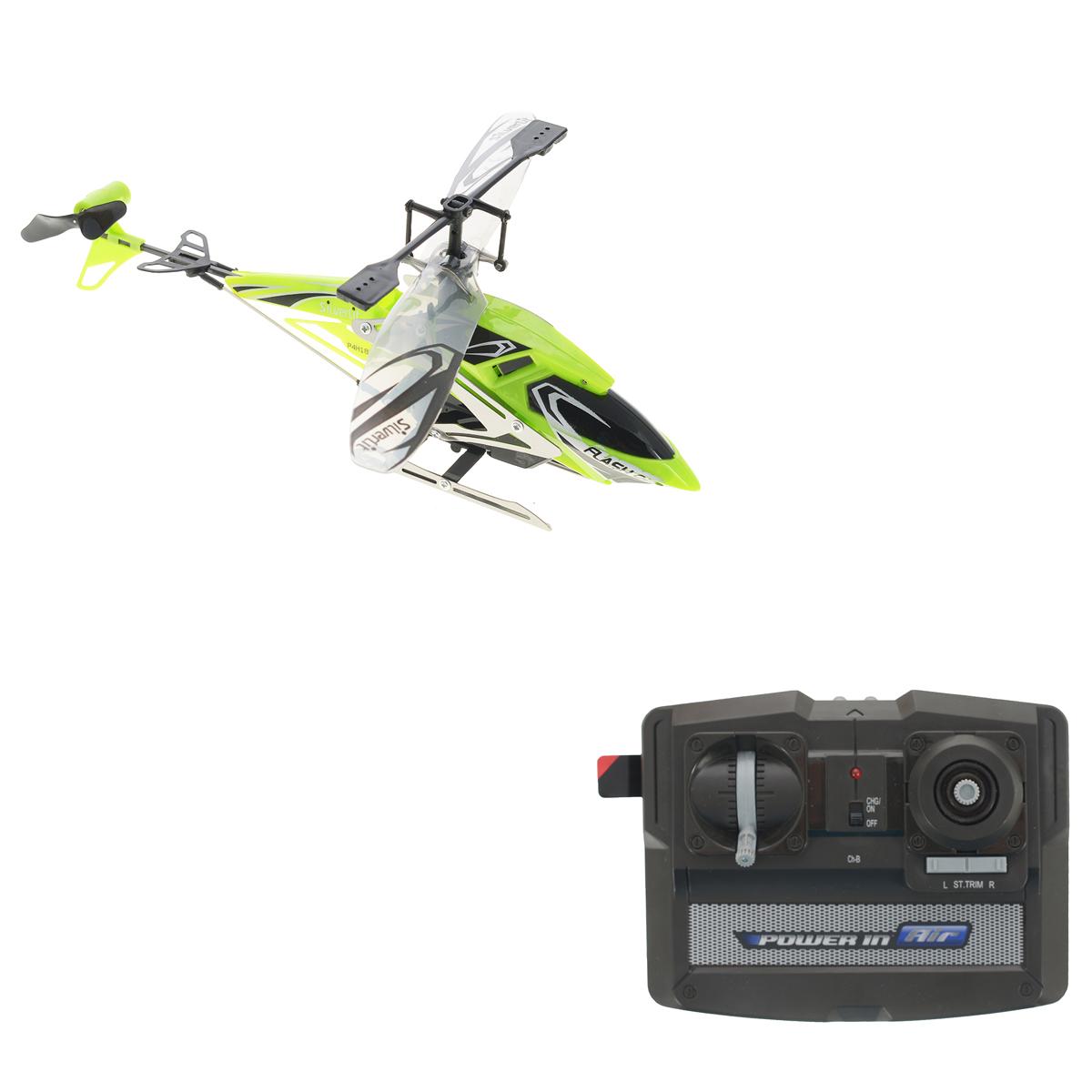 Silverlit Вертолет на радиоуправлении Штурмовик цвет зеленый84700_зеленыйРадиоуправляемая модель Silverlit Вертолет Штурмовик, выполненная из металла и пластика, удивит и порадует любого мальчика. Игрушка выполнена в виде вертолета, имеет очень точную детализацию и световые эффекты. Вертолет двигается вверх, вниз, вправо и влево, обладает автостабилизацией и высокоточным ускорением. Игрушка управляется с помощью дистанционного пульта с инфракрасным управлением, что позволяет играть только внутри помещения. Сверхточное цифровое пропорциональное трехканальное управление. Игрушкой очень легко управлять, вертолет послушно двигается в нужную сторону. Дети очень любят радиоуправляемые игрушки, ведь стоит только нажать на кнопку, как они буквально оживают, начинают двигаться и издавать характерные звуки. Не являются исключением и вертолеты на радиоуправлении - они еще интереснее, так как они не просто ездят, как обычные машины, а летают, парят над землей. Конечно, вертолетом управлять сложнее, чем автомобилем, так как...