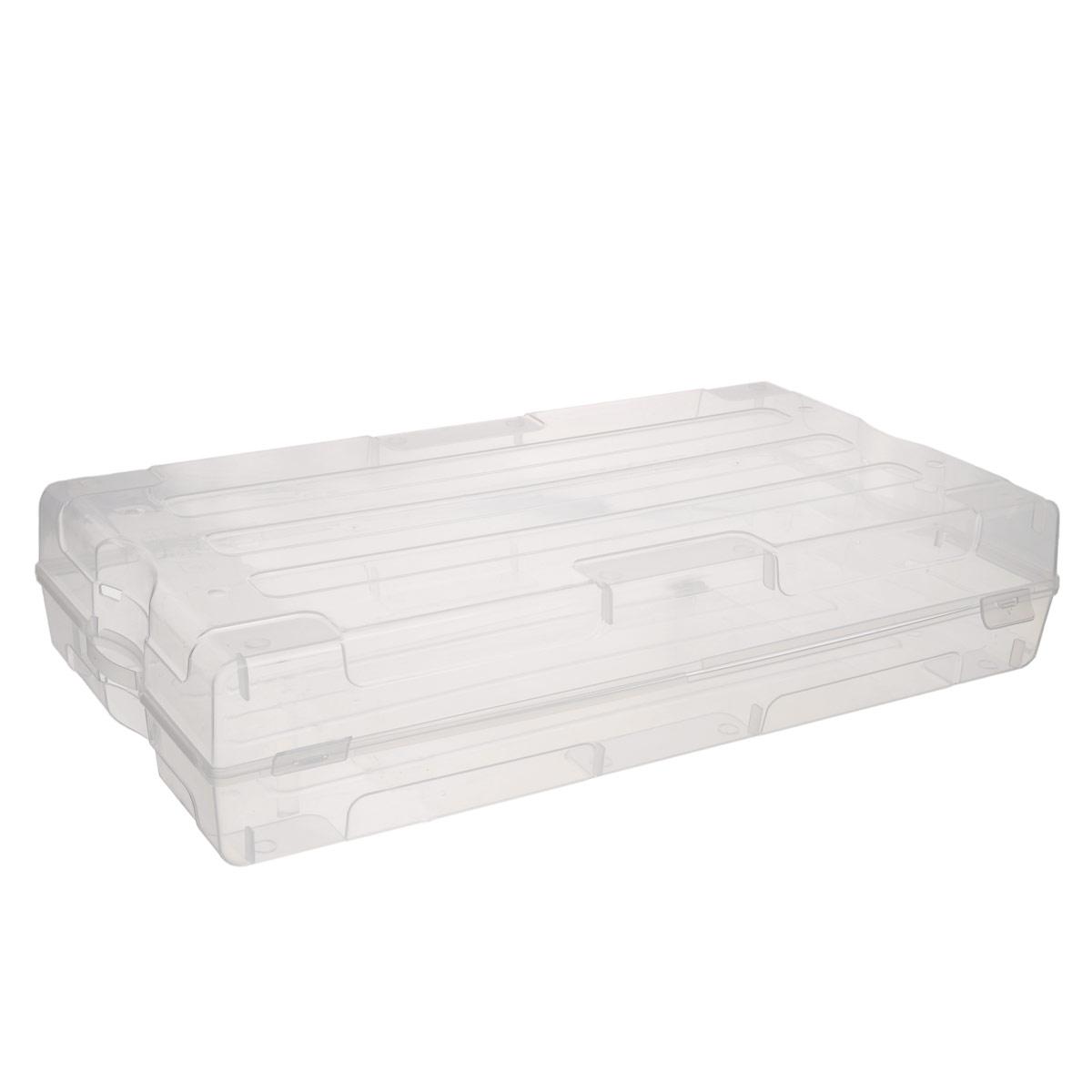 Коробка для хранения обуви Idea, 61 х 34 х 13 смМ 2870Коробка Idea изготовлена из прозрачного пластика. Изделие специально предназначено для хранения одной пары мужской обуви. Закрывается коробка на две защелки. Коробка имеет ручки для удобства ее транспортировки. Коробка для хранения Idea - идеальное решение для аккуратного хранения вашей обуви.