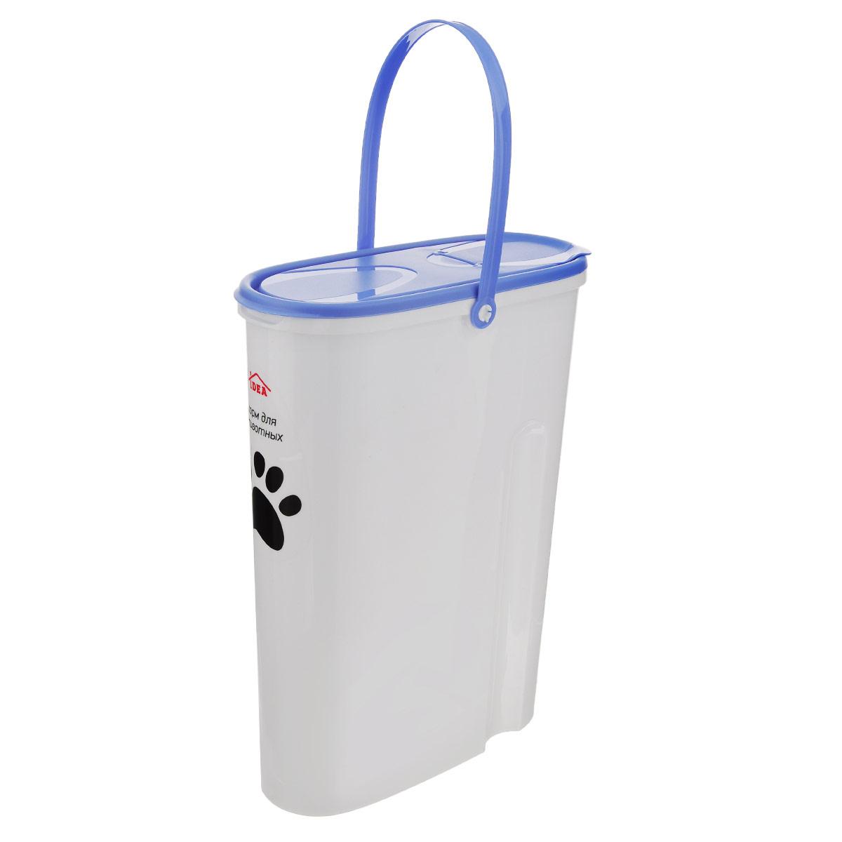 Контейнер Idea для хранения корма, цвет: синий, 5 лМ 1242Контейнер Idea, изготовленный из высококачественного пластика, предназначен для хранения корма для животных. Крышку можно полностью снять или просто приподнять ее небольшую часть. Контейнер оснащен ручкой, благодаря которой можно без проблем переносить с места на место. В таком контейнере корм останется всегда свежим.