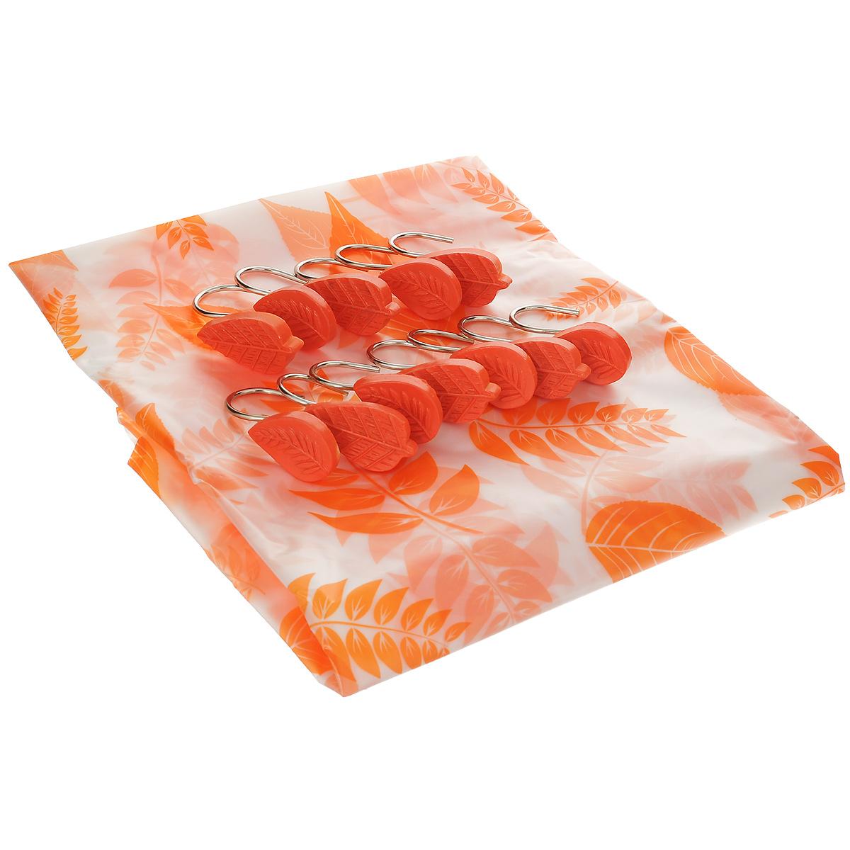 Штора для ванной комнаты House & Holder Листва, цвет: оранжевый, 180 х 180 смSWY076Штора для ванной комнаты House & Holder Листва изготовлена из полимера с водоотталкивающим покрытием, оформлена ярким красочным изображением. Такая штора легко стирается и быстро сохнет. В ее верхней кромке предусмотрены отверстия для крючков. Крючки, выполненные из металла, декорированы объемными фигурками. Количество крючков: 12 шт.