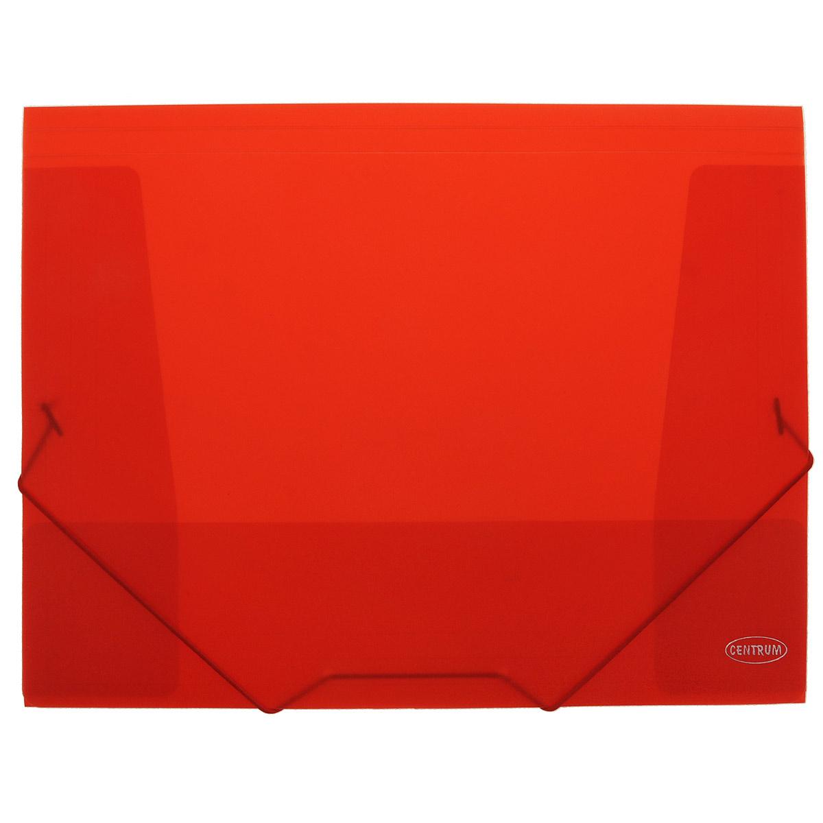 Папка на резинках Centrum пластиковая, формат А4, цвет: красный80016Папка-конверт на резинке Centrum - это удобный и функциональный офисный инструмент, предназначенный для хранения и транспортировки рабочих бумаг и документов формата А4. Папка с двойной угловой фиксацией резиновой лентой изготовлена из износостойкого полупрозрачного пластика. Внутри папка имеет три клапана, что обеспечивает надежную фиксацию бумаг и документов. Папка - это незаменимый атрибут для студента, школьника, офисного работника. Такая папка надежно сохранит ваши документы и сбережет их от повреждений, пыли и влаги.