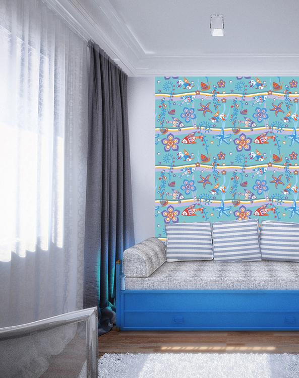 Дизайнерские обои КвикДекор Аквариум, линии матовые, цвет: голубой, 2 листа, 1,79 м х 2,7 мWP-13-0031-2-01-LnM-2PДизайнерские обои КвикДекор Аквариум - это бумажные обои на флизелиновой основе без ПВХ. Печать яркая насыщенная, произведена экологическими чистыми латексными чернилами (без запаха), не выцветает до 5 лет. Обои собираются из двух вертикальных полос. Рисунок не требует подгонки. Обои можно протирать влажной тряпкой. Такие обои позволят создать в детской комнате определенное настроение и даже несколько расширить оптический объем. Ваш ребенок получит массу удовольствий при созерцании яркого изображения. Размер обоев: 1,79 м х 2,7 м. Текстура обоев: матовые линии. Художник: Ирина Деревянченко.