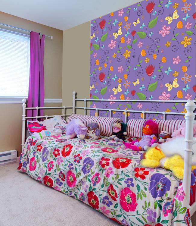 """Дизайнерские обои КвикДекор """"Летняя полянка"""", линии матовые, цвет: фиолетовый, 3 листа, 2,68 м х 2,7 м WP-13-0044-2-07-LnM-3P"""