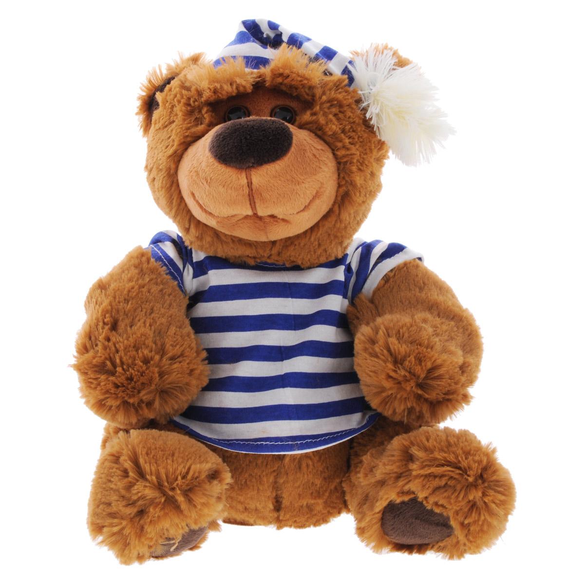 Dream Makers Мягкая озвученная игрушка Медведь-сказочник синяя полоска 28 смМЧН01\М_синяя полоскаМягкая игрушка Медведь-сказочник привлечет внимание не только ребенка, но и взрослого. Игрушка выполнена в виде забавного медвежонка в полосатой футболке и колпаке. Медведь- сказочник знает 4 интересных сказки: Три медведя, Маша и Медведь, Горшочек каши и Два жадных медвежонка, которые он с удовольствием будет рассказывать вашему малышу. У мишки на каждой лапке есть кнопка. Нажмите на любую из кнопок, чтобы послушать одну из 4 сказок. Если хотите остановить сказку и дослушать ее позже, нажмите на эту кнопку еще раз. Чтобы остановить сказку полностью, нажмите на кнопку стоп, которая спрятана в левом ушке медведя. В правом ушке расположена кнопка регулятора громкости. Малыш с удовольствием будет слушать великолепную игрушку. Озвученная игрушка послужит замечательным подарком близкому человеку, ребенку или другу! Рекомендуется докупить 3 батарейки типа АА (товар комплектуется демонстрационными).