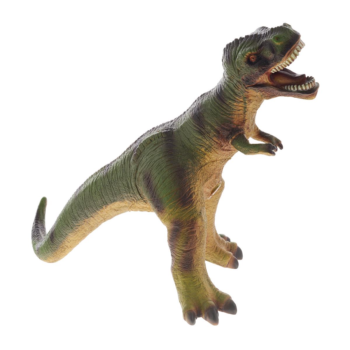 Фигурка Megasaurs ТираннозаврSV17872Фигурка Megasaurs Тираннозавр поможет вам мысленно перенестись в мир динозавров. Фигурка выполнена из высококачественной резины в виде тираннозавра с поразительной детализацией. Вытянутая форма динозавра с массивным черепом, мощными ногами и небольшими передними лапками полностью повторяет образ доисторического хищника. В животе игрушки имеется небольшое отверстие. Тираннозавр достигал 12 метров в длину, а его острые зубы представляли смертельную опасность. Жил в конце Мелового периода, закончив свое существование во время катаклизма, положившего конец эре динозавров.