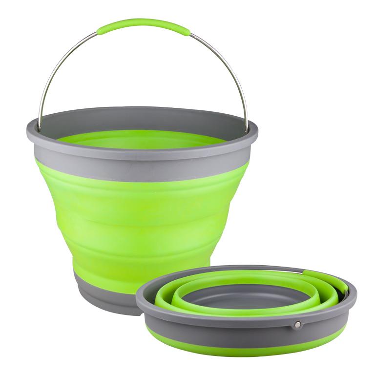 Ведро складное Miolla, цвет: серый, зеленый, 9,8 л2503007UСкладное ведро Miolla изготовлено из термопластичной резины и пластика. Благодаря гибкости и пластичности материала, ведро легко складывается и раскладывается. В сложенном состоянии занимает минимум места. Пластиковые вставки отлично держат форму изделия. Ведро прекрасно подходит для хранения различных бытовых вещей и других предметов. Для удобной переноски имеется металлическая ручка. Такое практичное и функциональное ведро пригодится в любом хозяйстве. Высота в сложенном виде: 5,5 см.