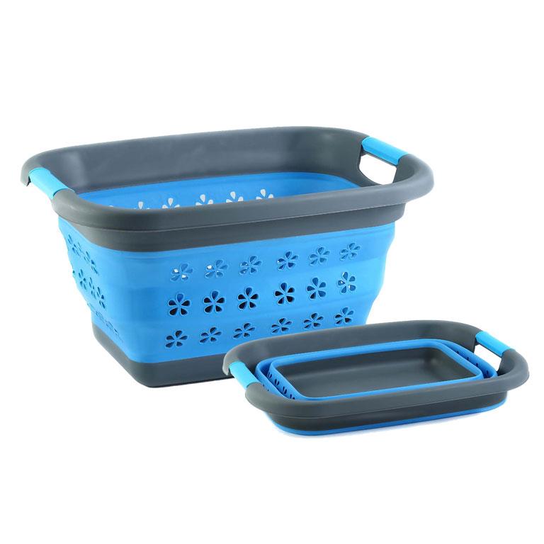 Корзина складная Miolla, цвет: серый, голубой, 11 л2507045UПрямоугольная складная корзина Miolla изготовлена из пластика и термопластичной резины, украшенной перфорацией в виде цветов. Благодаря гибкости и пластичности материала, корзина легко складывается и раскладывается. В сложенном состоянии занимает минимум места. Пластиковые вставки отлично держат форму изделия. Корзина прекрасно подходит для хранения белья, различных бытовых вещей и других предметов. Для удобной переноски имеются ручки. Такая практичная и функциональная корзина пригодится в любом хозяйстве. Высота в сложенном виде: 6,8 см.