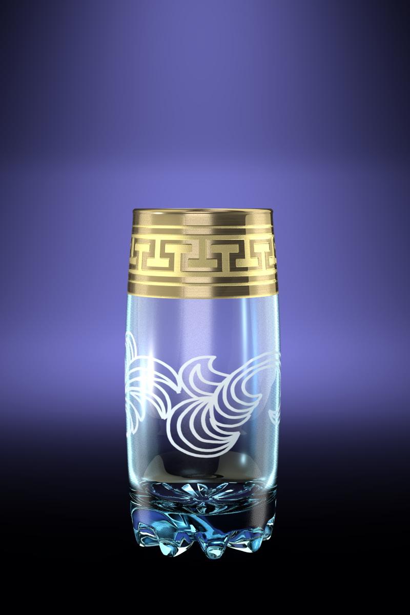 Набор 6 стаканов для сока с рисунком Греческий узор 390 млGE01-812Набор 6 стаканов для сока с рисунком Греческий узор 390 мл стекло