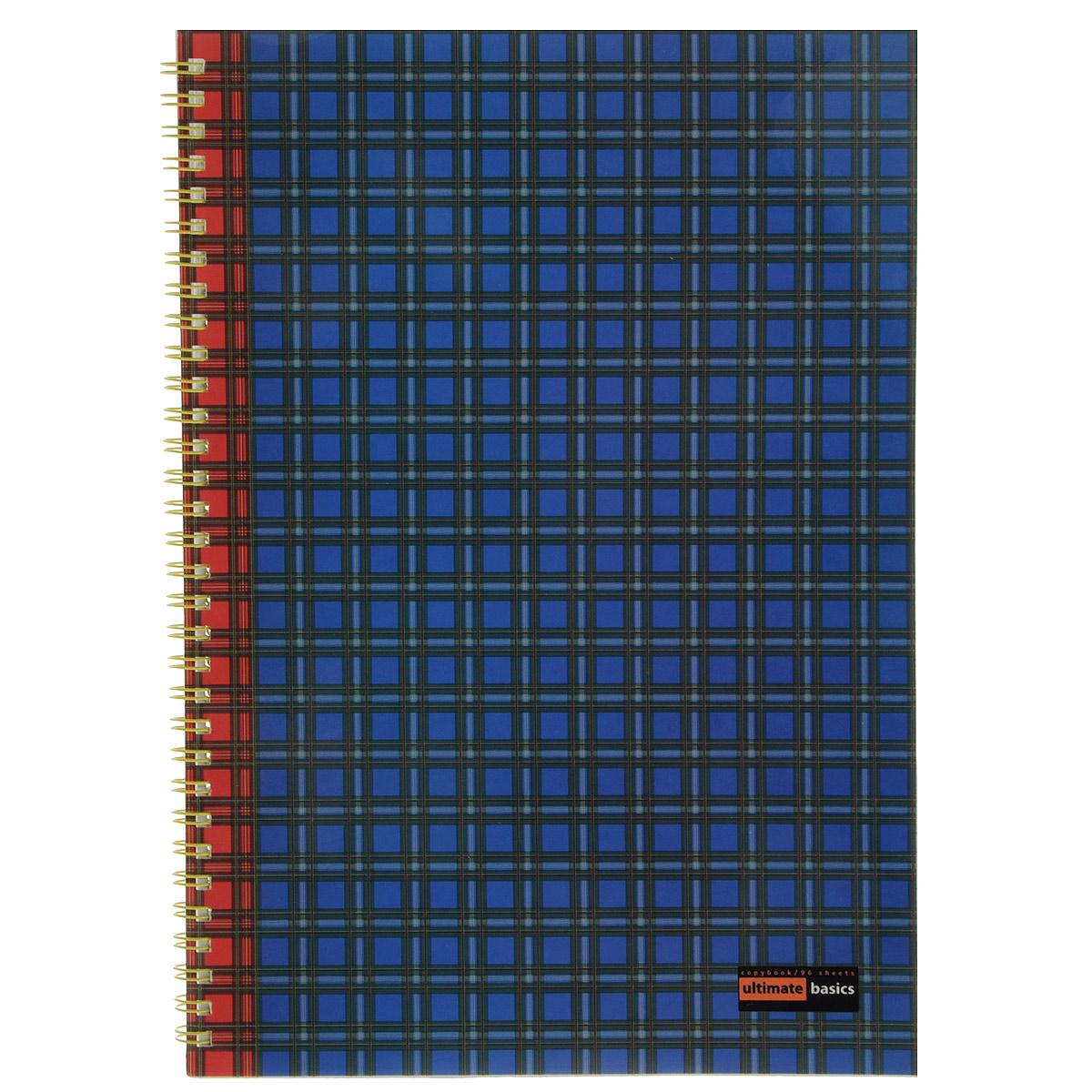 Тетрадь Шотландка, 96 листов, формат А47-96-002 Д_синийТетрадь Шотландка  на толстой двойной евроспирали и в мягкой обложке отлично подойдет для записей по учебе, работе или для повседневных заметок. Внутренний блок выполнен из белой бумаги в голубую клетку, без полей.