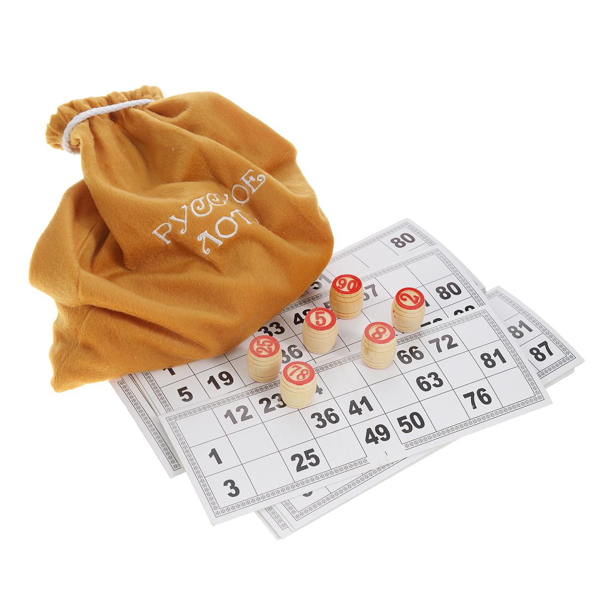 Игра настольная Русские Подарки Русское лото, размер: 26*9*12 см. 4232342323Игра настольная Русские Подарки Русское лото - это всеми любимая настольная игра для детей и взрослых. Она развивает логическое мышление, внимание и учит наблюдательности. Бочонки с цифрами сделаны из высококачественного дерева. За игрой можно провести увлекательный вечер в кругу семьи или компании друзей. Благодаря оригинальной коробке для хранения с выдвижной крышкой лото станет еще и отличным подарком. Количество игроков: 3-25. В наборе: деревянные бочонки, текстильный чехол, карточки, коробка для хранения.