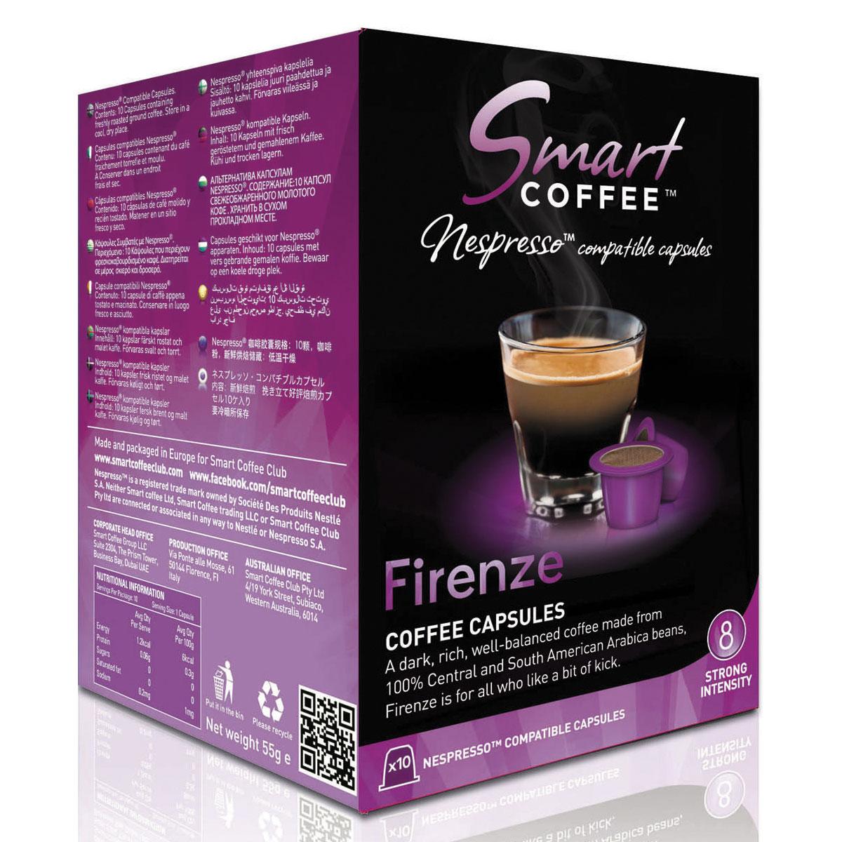 Smart Coffee Club Firenze кофе в капсулах (индивидуальная упаковка)5573063222115Натуральный жареный молотый кофе Smart Coffee Club Firenze высшего сорта в капсулах. Насыщенный, хорошо сбалансированный кофе из арабики Центральной и Южной Америки. Для тех, кто любит кофе с плотным вкусом и небольшой горчинкой.