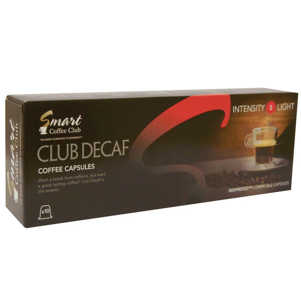 Smart Coffee Club Decaf кофе в капсулах5573063222122Традиционный деликатный вкус слегка обжаренной арабики Smart Coffee Club Decaf поможет вам расслабиться и насладиться моментом. Специально разработанная смесь с пониженным содержанием кофеина приготовлена без малейшего ущерба для вкуса и аромата напитка.