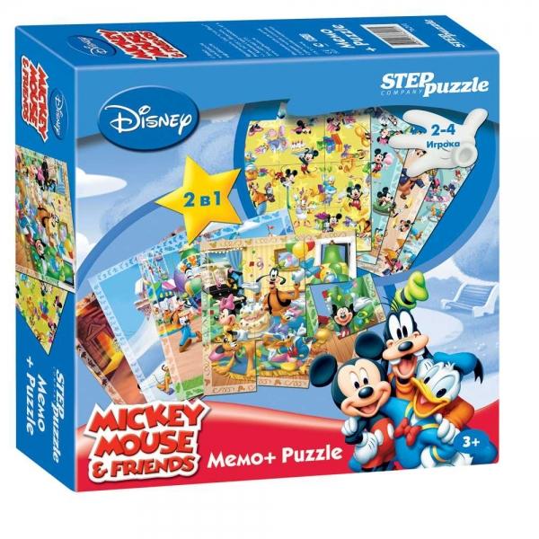 Игра DISNEY Микки Маус. Мемо-Puzzle76201Данная игра состоит из двух вариантов, направленных на развитие памяти, наблюдательности и внимания.