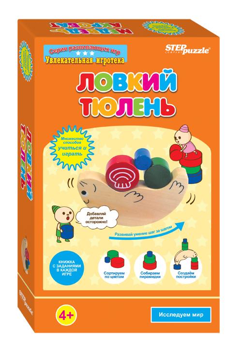 Step Puzzle Развивающая игра Ловкий тюлень76522Ловкий тюлень - это игра-балансир. В коробочке вы найдете деревянную фигурку тюленя, деревянные детали – 12 шт., игровой кубик – 1 шт., подробную красочную инструкцию с методическими указаниями. Игра направлена на развитие у детей равновесия, внимания, логического мышления, навыков устного счета.