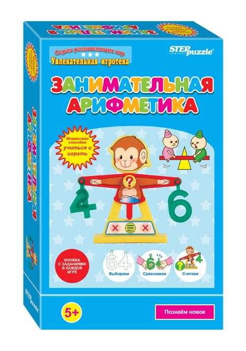 Step Puzzle Обучающая игра Занимательная арифметика76526Занимательная Арифметика - это развивающая игра. В коробочке вы найдете весы – 1 шт., цифры-гири – 14 шт., и подробную красочную инструкцию с методическими указаниями. Игра обучает сложению, вычитанию, умножению.