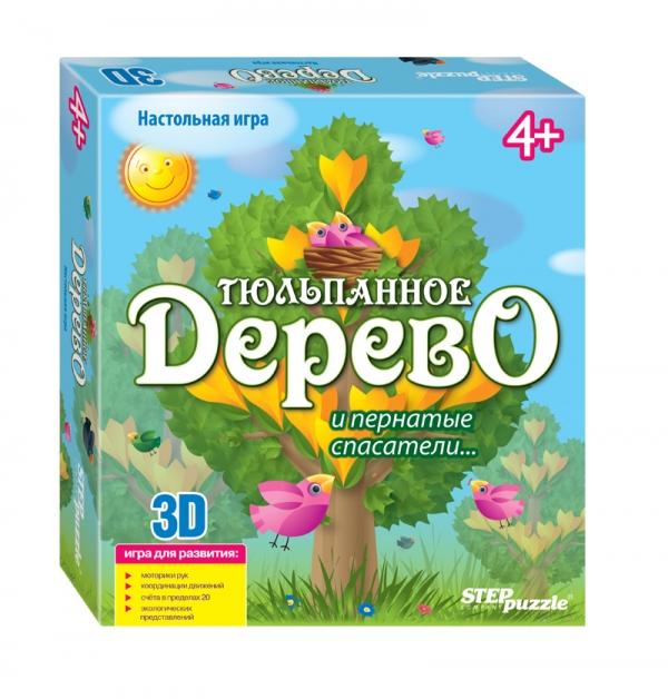 Step Puzzle Настольная игра 3D Тюльпанное дерево76553Тюльпанное дерево - развивающая игра-бродилка 3D. Тренирует мелкую моторику, координацию. Помогает освоить устный счет, знакомит с понятиями сутки, утро, день, вечер, ночь. Способствует экологическому воспитанию. Количество игроков: от 2 до 4.
