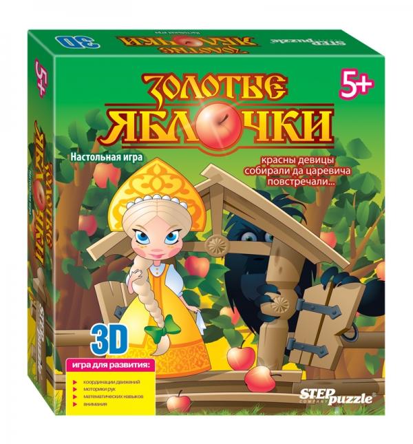 Step Puzzle Настольная игра 3D Золотые яблочки76555Золотые яблочки - игра-бродилка 3D. Тренирует мелкую моторику, координацию. Помогает освоить устный счет и простейшие математические действия на сложение и вычитание. Количество игроков: от 2 до 4.