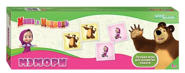 Step Puzzle Развивающая игра Маша и Медведь80207Классическая игра мемори. Разложите карточки на стол картинками вниз. Открывая по две карты, соберите как можно больше пар с героями мультфильма Маша и Медведь. Игра способствует развитию памяти, внимания.