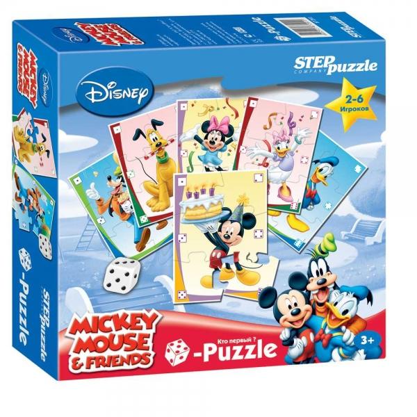 Игра DISNEY Микки Маус. Кубик-Puzzle87201Весёлая азартная игра, в которой выигрывает тот, кто первым соберёт свой пазл, но не просто соберёт, а при помощи кубика (игральной кости).