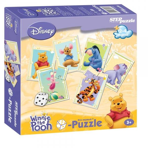 Игра DISNEY Медвежонок Винни. Кубик-Puzzle87203Весёлая азартная игра, в которой выигрывает тот, кто первым соберёт свой пазл, но не просто соберёт, а при помощи кубика (игральной кости).