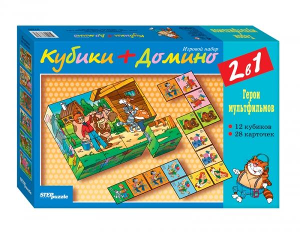 Кубики+домино Герои мультфильмов СОЮЗМУЛЬТФИЛЬМ87323Игровой набор развивает логическое мышление, произвольное внимание, зрительную память, смекалку. В процессе игры совершенствуется мелкая моторика руки и психические функции. Набор позволяет моделировать множество игровых ситуаций, способствующих развитию ребёнка.