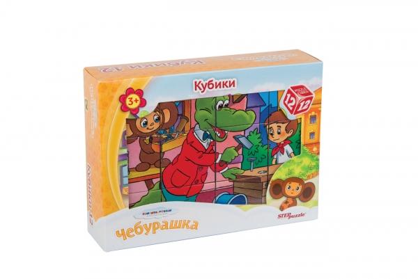 12 кубиков СОЮЗМУЛЬТФИЛЬМ Чебурашка87341Наборы из 12 кубиков – для тех, кто освоил навык сборки картинки из 9 кубиков. Заложенный дидактический принцип «от простого к сложному» позволит ребёнку поверить в свои силы. А герои популярных мультфильмов сделают кубики любимой игрушкой
