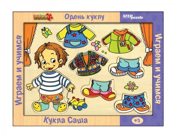Одень куклу. Кукла Саша (игра из дерева)89302Эта забавная игра способствует развитию воображения и простейших навыков конструирования, расширит активный словарь по теме Одежда, поможет смоделировать сюжетно-ролевую игру.