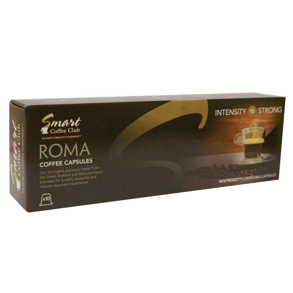 Smart Coffee Club Roma кофе в капсулах5573063222139Натуральный жареный молотый кофе в капсулах Smart Coffee Club Roma. Самая крепкая смесь, с использованием Арабики и Робусты из Центральной и Южной Америки. Идеальное начало дня для тех, кто любит крепкий, насыщенный, ароматный кофе.