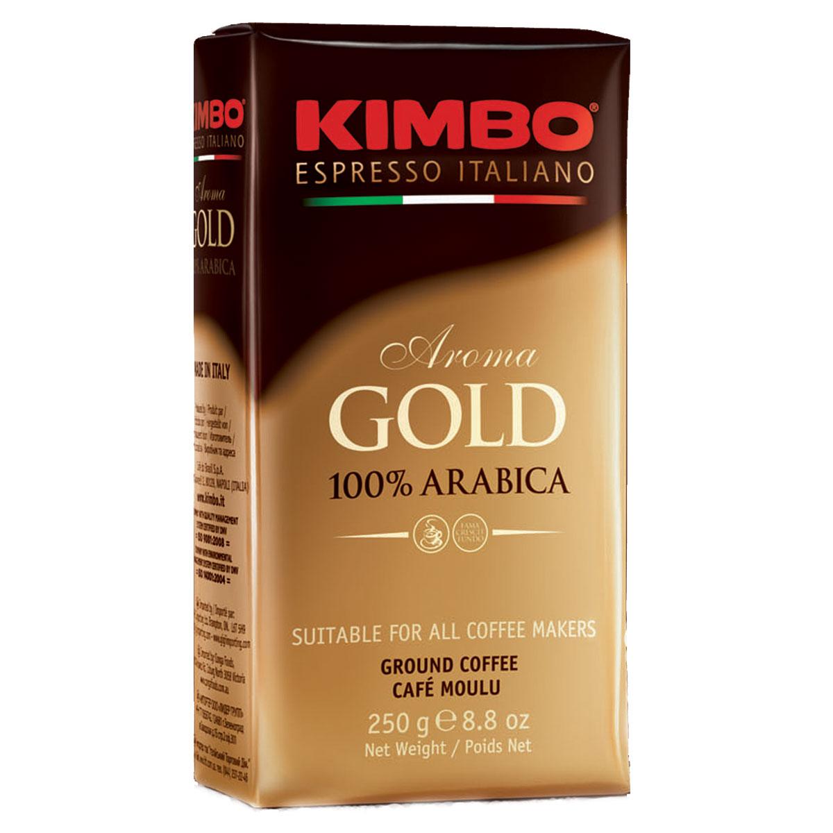 Kimbo Aroma Gold 100% Arabica кофе молотый, 250 г8002200102111Натуральный жареный молотый кофе Kimbo Aroma Gold 100% Arabica. Смесь превосходной арабики отличается нежным вкусом, мягкой кислинкой и тонким ароматом. Состав смеси: 100% арабика.